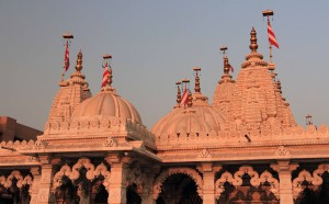 Closeup of the exquisite domes on top of Shri Swaminarayan Satsang Mandir.