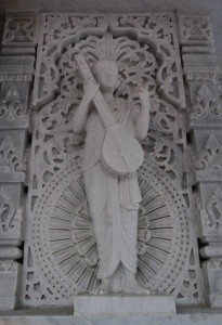 Relief sculpture on the outside wall of Shri Swaminarayan Satsang Mandir.