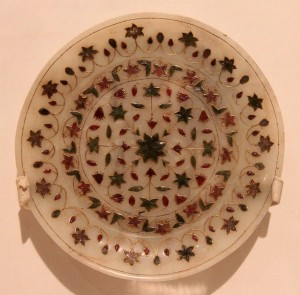 Jade plate inlaid with precious stones.