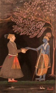Raja Prithvi Singh, of Pratapgarh, offering jasmine flowers to Krishna.