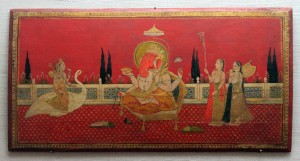 Goddess Saraswati with Ganesha and devotees, painted on a wooden manuscript cover.
