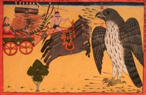 Jatayu confronting Ravana in an attempt to save the abducted Sita.