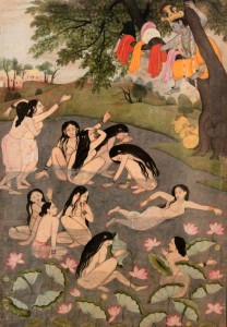 Bathing women demanding their clothes from Krishna.