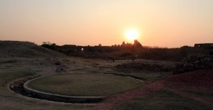 The sun setting over Tughlaqabad Fort.