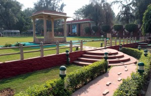 The end of the path; the stone column marks the spot where Gandhi was assassinated on January 30, 1948.