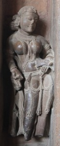 Sculpture of a woman inside the Lakshmana Temple (ridiculously fake breasts appear to have been in fashion back then).