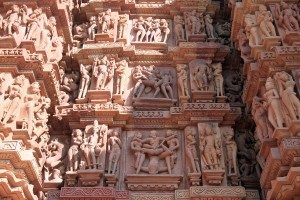 Three rows of erotic artwork on the Kandariya Mahadeva Temple.