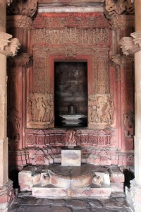 Looking at the inner sanctum inside the Visvanatha Temple.