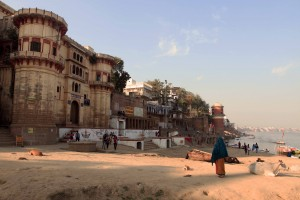 Approaching Reewa Ghat along the Ganges River in Varanasi.