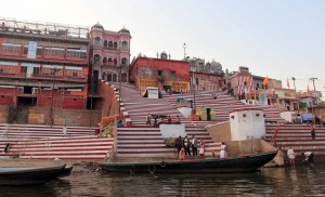 Kedar Ghat with its candy cane color scheme.