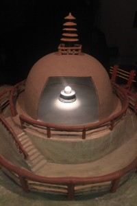 Buddha's relics inside a miniature model of the stupa at Vaishali (where it was found).