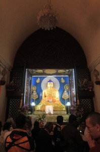 Inside the Mahabodhi Stupa.