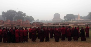 Monks chanting outside in Deer Park in Sarnath - the location where Buddha gave his first sermon.
