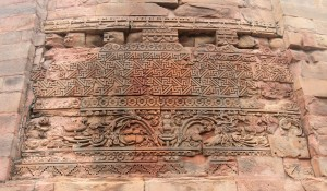 Close-up of a relief on Dhamekh Stupa.