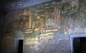 Wall paintings inside Cave No. 1 (a Mahayana monastery) at the Ajanta Caves.