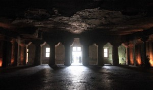 Inside Cave No. 4, the largest monastery (though never finished) in the Ajanta Caves.