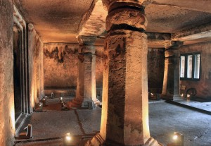 Inside of one of the cave temples in the Ajanta Caves.