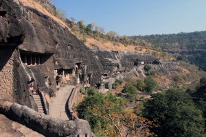 View of the cave temples in the Ajanta Caves.