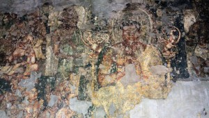 Painting depicting Buddha's life inside Cave No. 16 at the Ajanta Caves.