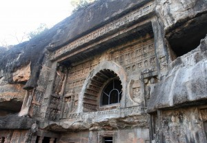 Facade to Cave No. 26 in the Ajanta Caves.