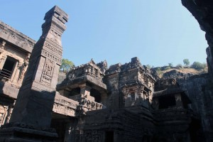 Inside the Kailasa Cave temple, the largest monolithic structure in the world.