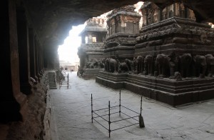 Side-view inside the Kailasa Cave temple.