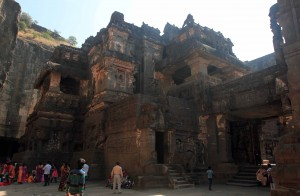 The giant, central structure in the Kailasa Cave temple.