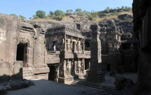 View of the Kailasa Cave temple from the second-storey near the entrance.