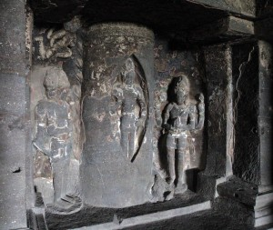 Sculpture inside of Dasavatara Cave (out of view are art students making sketches of this sculpture).