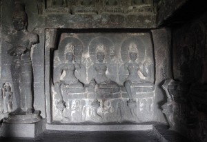 Sculpted relief inside Cave No. 12.