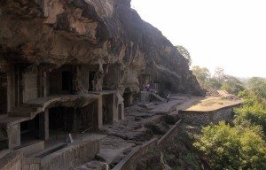 One end of the Ellora Caves (with cave No.1).