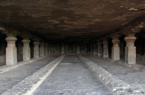 Inside Cave No. 5 (a Buddhsit monastery) in the Ellora Caves.