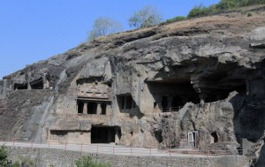 Cave temples in the Ellora Caves.
