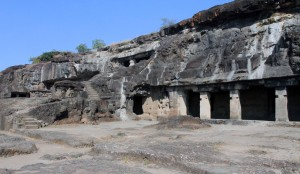 More cave temple entrances in the Ellora Caves.