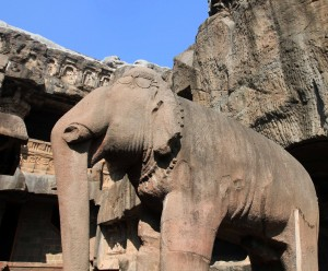 Elephant sculpture inside Cave No. 32 (a Jain temple) at the Ellora Caves.