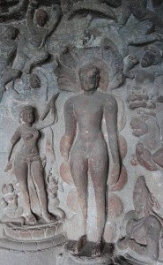 Sculpted relief inside a Jain cave temple.