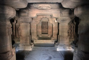 Inside Cave No. 33 (another Jain temple) in the Ellora Caves.