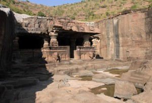 Cave temple entrance in Ellora Caves.