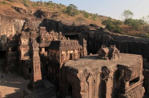 View of Kailasa Cave temple in Ellora Caves.