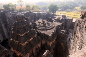 Back view (from high) of Kailasa Cave temple.