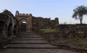Steps leading up to a gate in Daulatabad Fort.