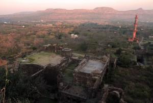 Daulatabad Fort with bridge over the wet moat and red mosque in view.