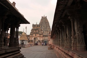 In Virupaksha temple, looking back at the entrances.