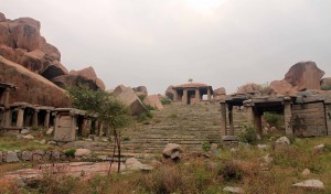 Ruins near the Monolithic Bull sculpture in Hampi.