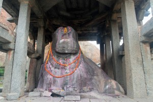 Monolithic Bull sculpture in Hampi.