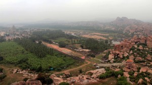 View of Hampi Bazaar, seen from the trail up to the top of Matunga Hill.