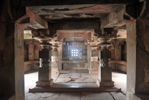 Inside a temple in Hampi.