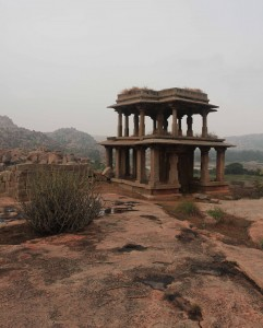 Two-storey ruins in Hampi.