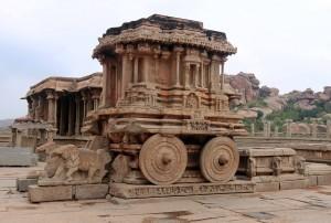 "The Stone Chariot (""Garuda Mandapa"") inside Vittalia temple."