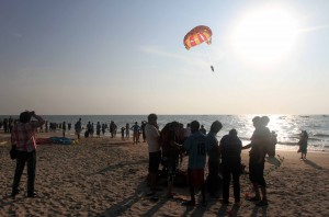 Paragliding at Covah Beach.